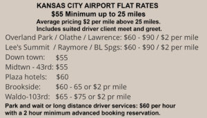 $55 Minimum to Kansas City Airport up to 25 miles, $2 a mile over 25 miles. Car Service Park and Wait $60 per hour with a two hour minimum.