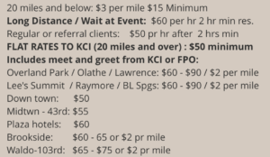 KCI Chauffeur and Kansas City Airport Taxi Prices